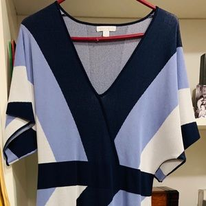 Navy blue and white print dress